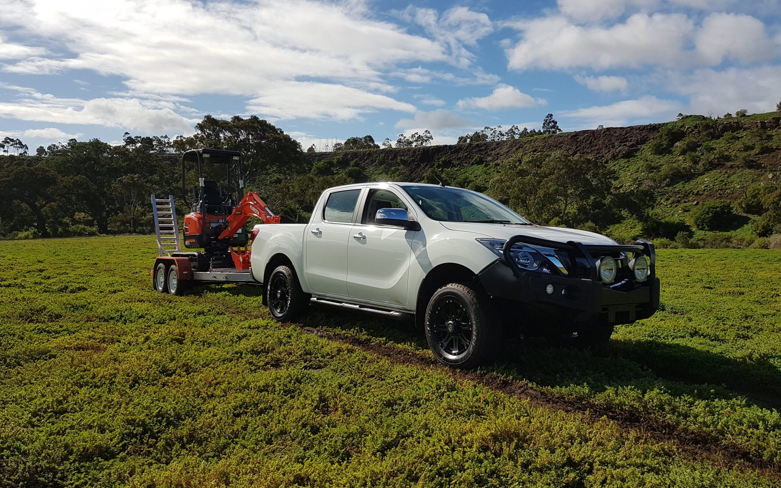 Towing a trailer as part of the BT50 TV Commercial - Performance Driving Australia